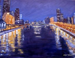 Melbourne at Night,Yarra River. Oil, stretch canvas