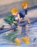 Boys will be Boys. Pastel. 46.5 x41.5 cm ( framed)
