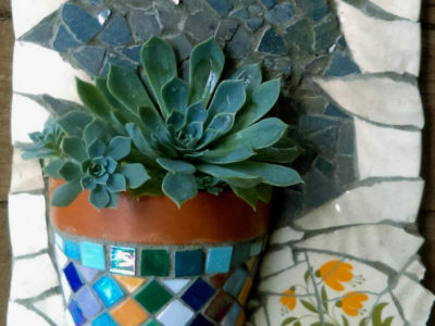 Mosaic Workshop - Make your own Mosaic Terracotta Pot Garden Wall Hanger at ClayMotion Ballarat Victoria