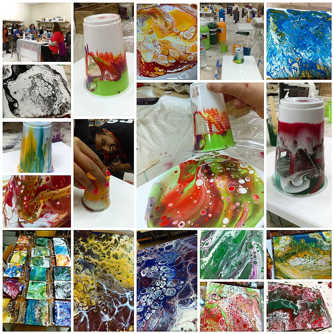 acrylic pouring workshop at ClayMotion Ballarat